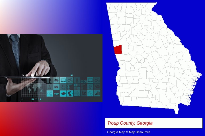 information technology concepts; Troup County, Georgia highlighted in red on a map