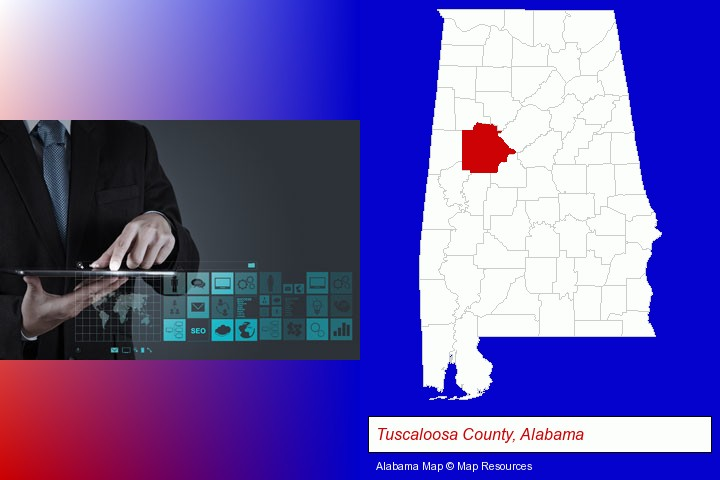 information technology concepts; Tuscaloosa County, Alabama highlighted in red on a map