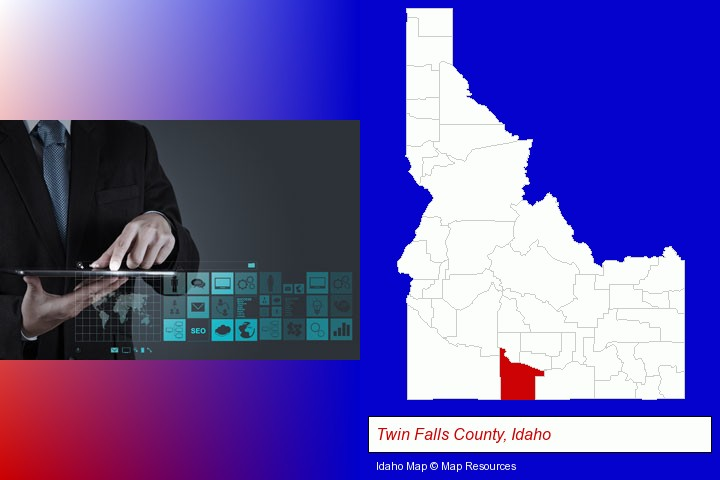 information technology concepts; Twin Falls County, Idaho highlighted in red on a map