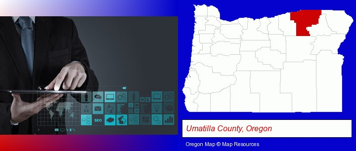 information technology concepts; Umatilla County, Oregon highlighted in red on a map