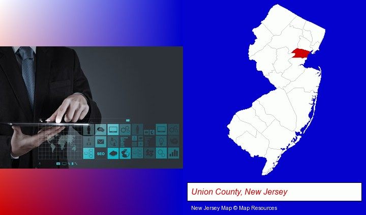 information technology concepts; Union County, New Jersey highlighted in red on a map
