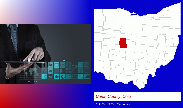 information technology concepts; Union County, Ohio highlighted in red on a map