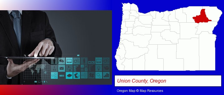 information technology concepts; Union County, Oregon highlighted in red on a map