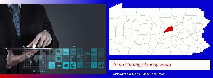 information technology concepts; Union County, Pennsylvania highlighted in red on a map