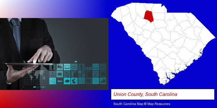information technology concepts; Union County, South Carolina highlighted in red on a map