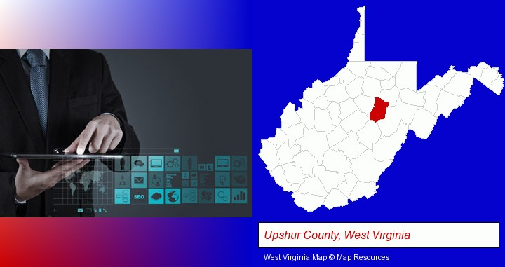 information technology concepts; Upshur County, West Virginia highlighted in red on a map