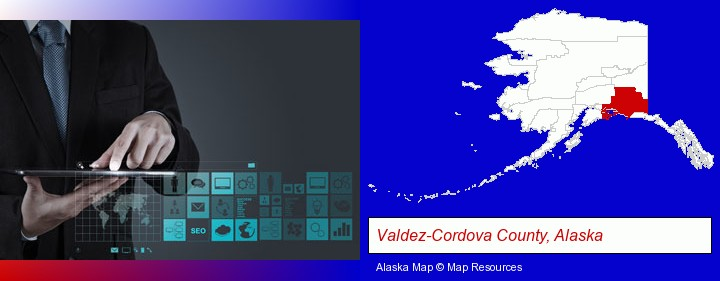 information technology concepts; Valdez-Cordova County, Alaska highlighted in red on a map