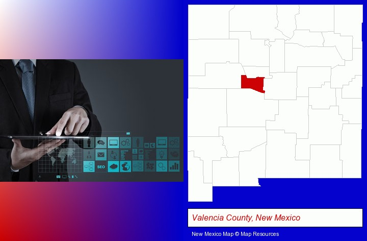 information technology concepts; Valencia County, New Mexico highlighted in red on a map