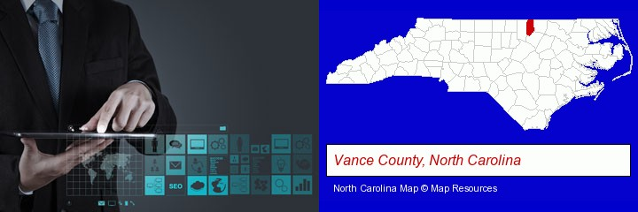 information technology concepts; Vance County, North Carolina highlighted in red on a map