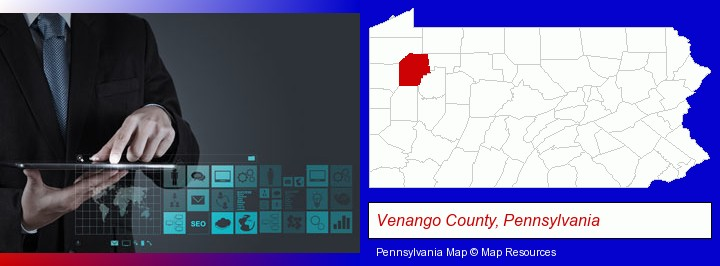 information technology concepts; Venango County, Pennsylvania highlighted in red on a map