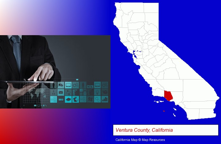 information technology concepts; Ventura County, California highlighted in red on a map
