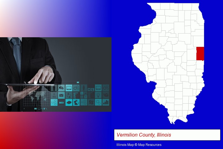information technology concepts; Vermilion County, Illinois highlighted in red on a map