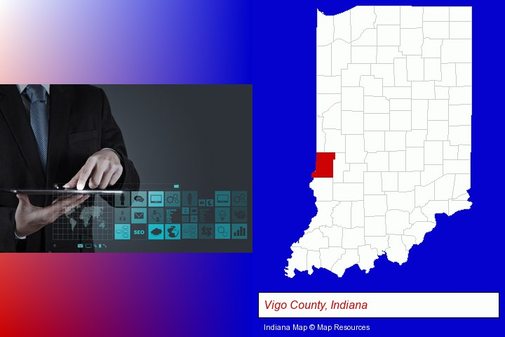 information technology concepts; Vigo County, Indiana highlighted in red on a map