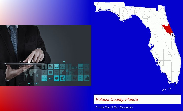 information technology concepts; Volusia County, Florida highlighted in red on a map