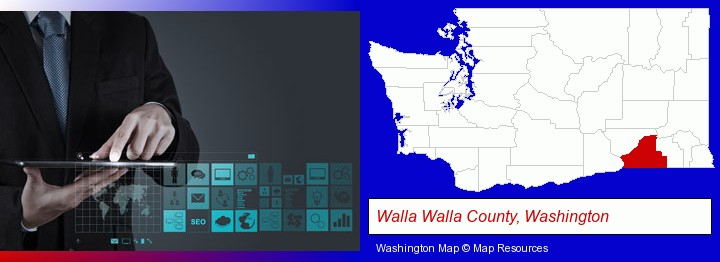 information technology concepts; Walla Walla County, Washington highlighted in red on a map