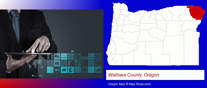 information technology concepts; Wallowa County, Oregon highlighted in red on a map