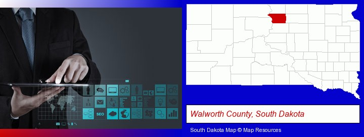 information technology concepts; Walworth County, South Dakota highlighted in red on a map