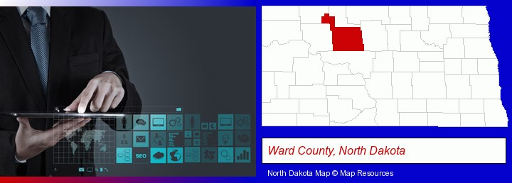 information technology concepts; Ward County, North Dakota highlighted in red on a map