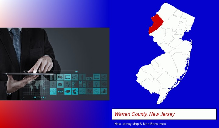 information technology concepts; Warren County, New Jersey highlighted in red on a map