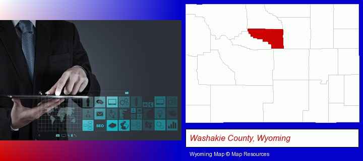 information technology concepts; Washakie County, Wyoming highlighted in red on a map
