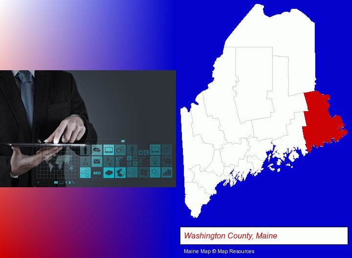 information technology concepts; Washington County, Maine highlighted in red on a map