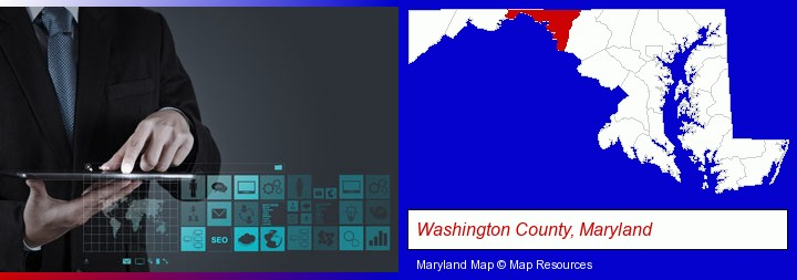 information technology concepts; Washington County, Maryland highlighted in red on a map