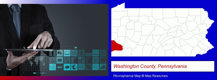 information technology concepts; Washington County, Pennsylvania highlighted in red on a map