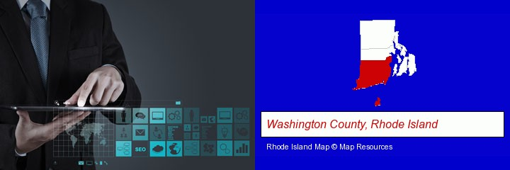 information technology concepts; Washington County, Rhode Island highlighted in red on a map