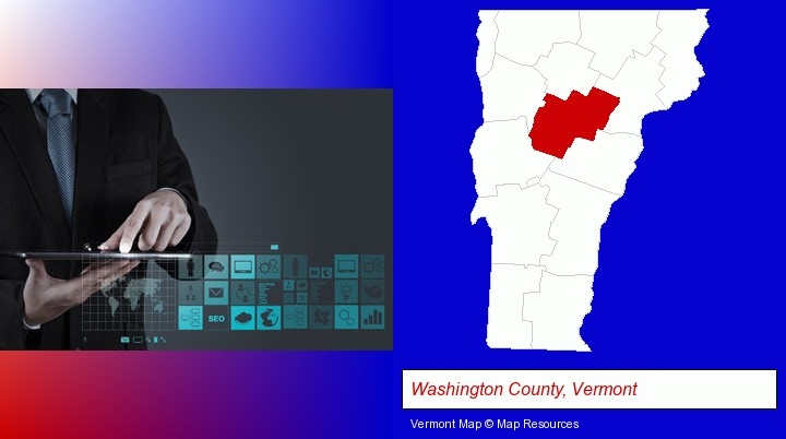 information technology concepts; Washington County, Vermont highlighted in red on a map