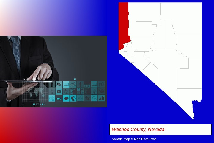 information technology concepts; Washoe County, Nevada highlighted in red on a map