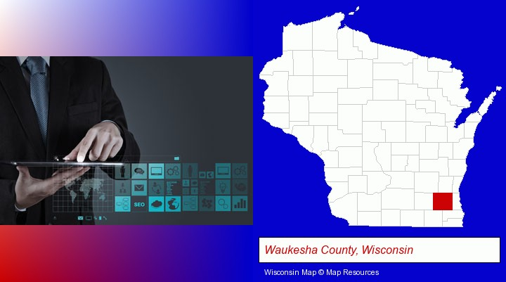 information technology concepts; Waukesha County, Wisconsin highlighted in red on a map