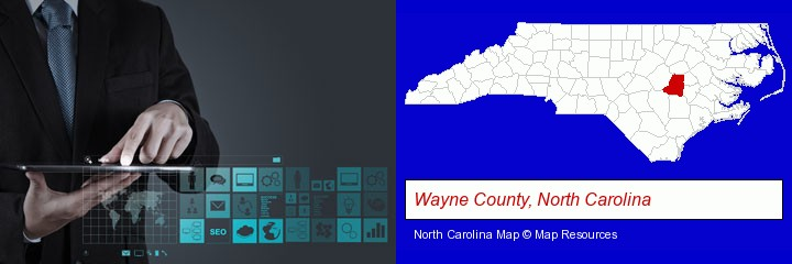 information technology concepts; Wayne County, North Carolina highlighted in red on a map