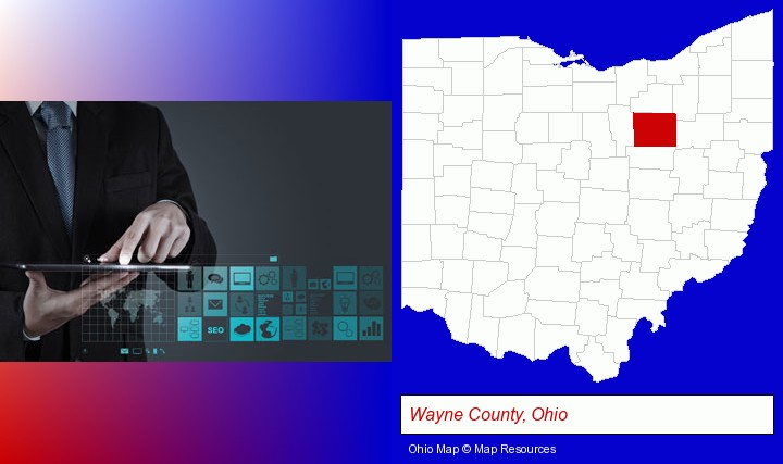 information technology concepts; Wayne County, Ohio highlighted in red on a map