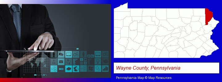 information technology concepts; Wayne County, Pennsylvania highlighted in red on a map