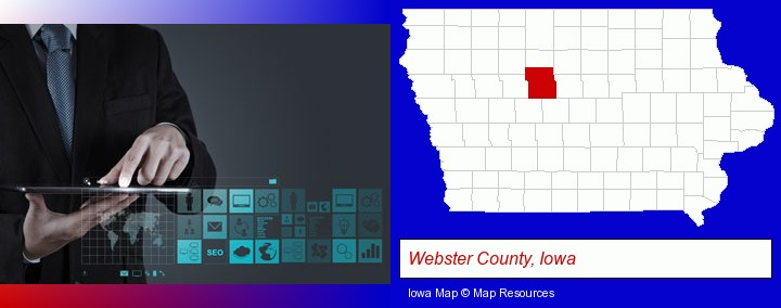 information technology concepts; Webster County, Iowa highlighted in red on a map