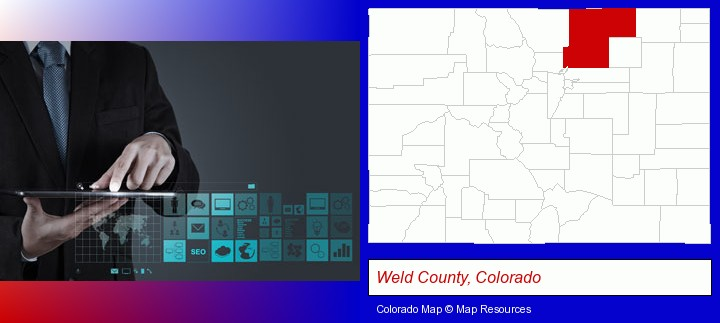 information technology concepts; Weld County, Colorado highlighted in red on a map
