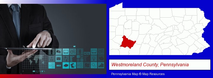 information technology concepts; Westmoreland County, Pennsylvania highlighted in red on a map