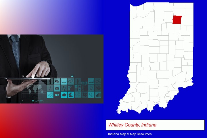 information technology concepts; Whitley County, Indiana highlighted in red on a map