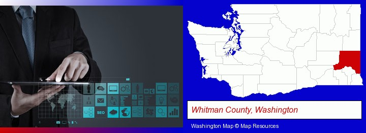 information technology concepts; Whitman County, Washington highlighted in red on a map