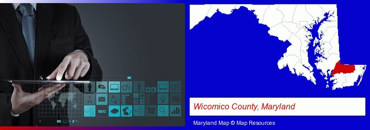 information technology concepts; Wicomico County, Maryland highlighted in red on a map