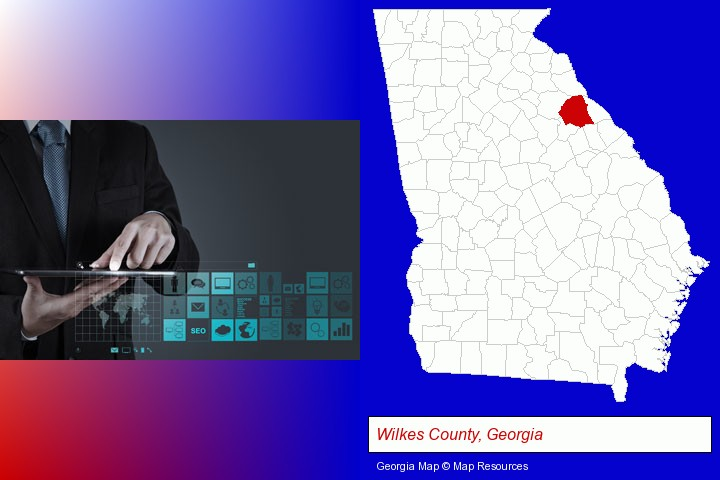information technology concepts; Wilkes County, Georgia highlighted in red on a map