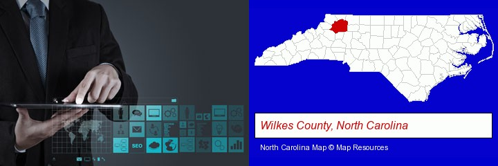information technology concepts; Wilkes County, North Carolina highlighted in red on a map