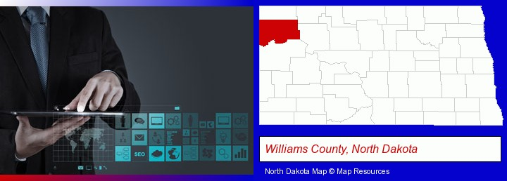 information technology concepts; Williams County, North Dakota highlighted in red on a map