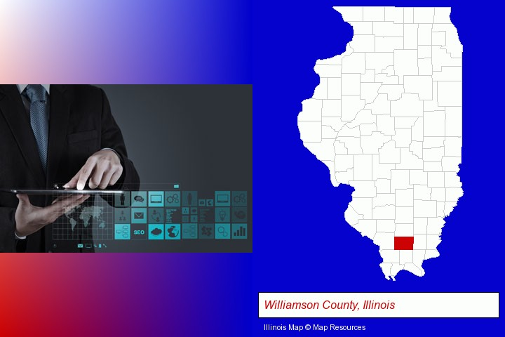 information technology concepts; Williamson County, Illinois highlighted in red on a map