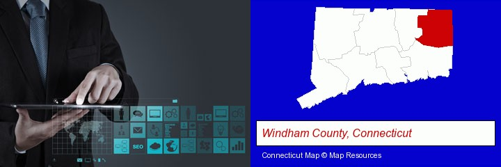 information technology concepts; Windham County, Connecticut highlighted in red on a map