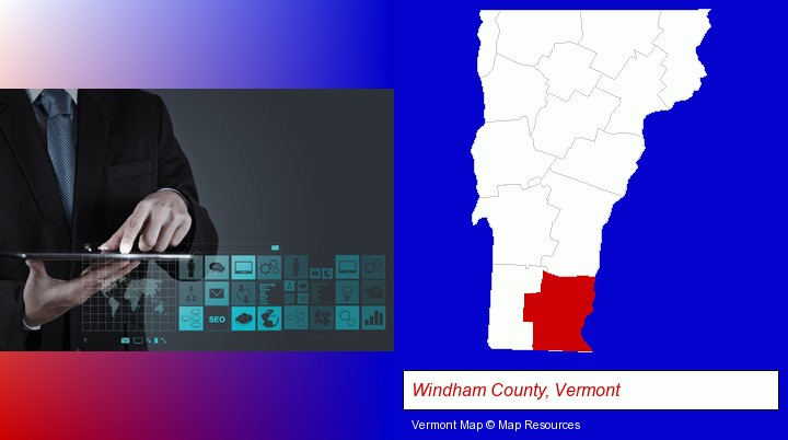 information technology concepts; Windham County, Vermont highlighted in red on a map