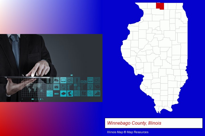 information technology concepts; Winnebago County, Illinois highlighted in red on a map