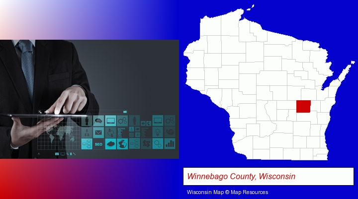 information technology concepts; Winnebago County, Wisconsin highlighted in red on a map