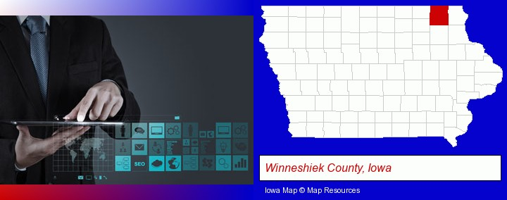 information technology concepts; Winneshiek County, Iowa highlighted in red on a map