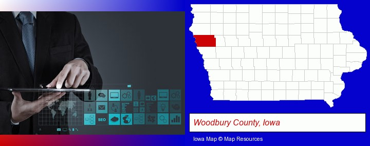 information technology concepts; Woodbury County, Iowa highlighted in red on a map